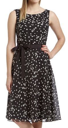 Black & Taupe Polka Dot Tie-Waist Scoop Neck Dress