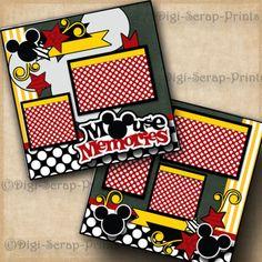 Memórias Do Mouse ~ Disney 2 Páginas De Scrapbook Papel PREMADE Scrapbook Mickey digiscrap