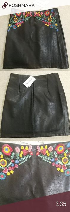 For the Republic Faux Leather Skirt NWT For the Republic Faux Leather Skirt NWT The colorful embroidery on this super soft, (for faux leather) skirt is stunning! Back zip; fully lined; Waist to hem measures 18 inches; waist is 15 inches For the Republic Skirts Mini