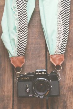 "Scarf Camera Strap in ""Black Chevron, Turquoise & Lace"""