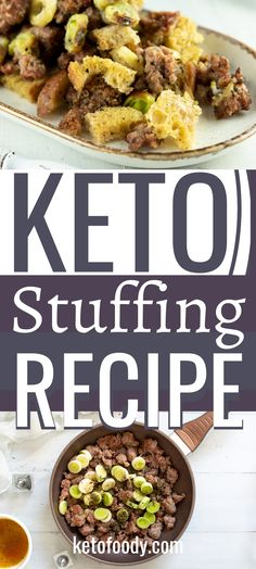 Learn how to make this easy keto stuffing recipe made with savory keto bread, sausages, and vegetables for the holidays. This keto dressing recipe is exactly what you will want to make if you want the entire family to enjoy thanksgiving stuffing. #KetoStuffingRecipe #KetoRecipe #KetoStuffing #StuffingRecipe