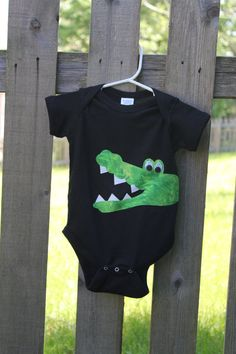 pillowcase idea?   Super cute Boy or Girl Alligator Onesie by hnhdaisy on Etsy, $18.00
