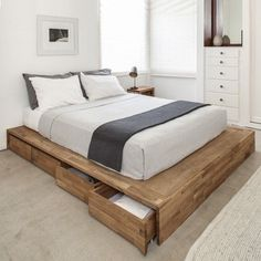 The definitive LAXseries Storage Platform Bed is the perfect marriage of form and function with 8 roomy, rolling drawers beneath the low laying, beautifully finished solid wood platform to help you cut back clutter in the bedroom. http://www.yliving.com/mash-studios-lax-storage-platform-bed.html #PlatformBed