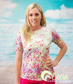Coola Cozzies women's UPF50+ short sleeve rashie/swim shirt in sizes 10 to 24. Mermaid.  #womensswimwear #swimwear #coveredswimwear