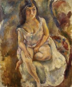 Jules Pascin American and Bulgarian, active in France, 1885–1930 Seated Girl in Chemise (Jeune fille assise en chemise)  1914 Oil on canvas 28 3/4 x 23 5/8 in. (73 x 60 cm) BF483 Image © 2013 The Barnes Foundation
