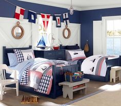 Transitioning nautical nursery to toddler room - Pottery Barn Kids - two boys shared room - Kiddos at Home Big Boy Bedrooms, Baby Boy Rooms, Girls Bedroom, Bedroom Decor, Bedroom Ideas, Bedroom Wall, Nursery To Toddler Room, Toddler Rooms, Boys Room Design
