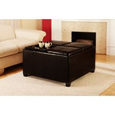 Convenience Concepts Designs4Comfort Faux Leather Cocktail Storage Ottoman with 4 Tray Tops, Espresso $199 walmart