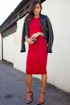 Make your sexy date night dresses work for fall by topping them off with a black leather jacket (get 44 more ideas by clicking)