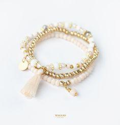 stack bracelets, bracelet, bracelets, beads, crystals, tassel, ivory, gold, peach, white, beautiful, fashion, trend, style, sea, beach, street style, beach style, casual, summer, spring, narukvice, boho, bohemian, boho chic, hippie, gypsy