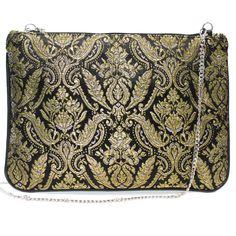 Bolso fallera® con detalles florales, realizados en tela de seda color negro y oro. fallera bag with floral pattern. #bag #clutch #bolso http://fallera.com/es/bolsos/bc00604-detail