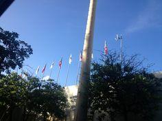 Estadio Sixto Escobar. Es interesante porque se muestran repetidamente las banderas de San Juan y Puerto Rico pero no se muestra la bandera de los Estados Unidos de América. Pienso que es una situación de política el por qué no se muestran. Pero cabe resaltar que las banderas están en perfecto estado.