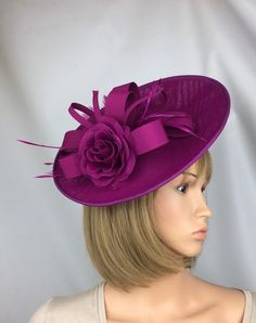 07394fdced5f6 Magenta Fascinator Pink Hatinator Purple Fascinator on Hair Clip Wedding Hat  Mother of the Bride Ascot Derby Races