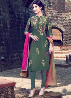 Mehandi Green Embroidery Work Cotton Satin Churidar Suit http://www.angelnx.com/Salwar-Kameez/Churidar-Suits