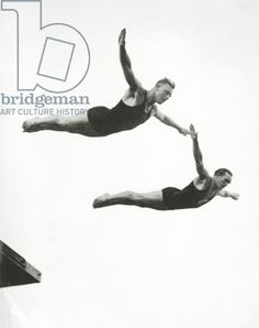 #London2012 Platform Diving at the Berlin Olympic Games, 1936 (b/w photo)/ Private Collection