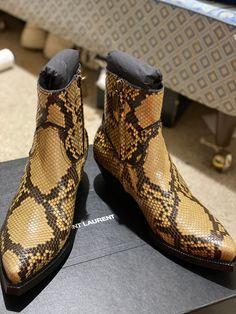 Saint Laurent Paris Lukas Boots In Python   Grailed Saint Laurent Chelsea Boots, Saint Laurent Paris, Cobbler, Python, Jeans And Boots, Saints, Kicks, Footwear, Casual