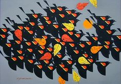 Charley Harper: Redwinged Blackbirds