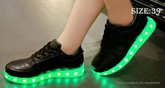 Unisex LED Light Up Lace Up Shoes Sneakers (Size 39/Black) Footwear 4839507 - https://xtremepurchase.com/TechStore/2016/09/01/sports-outdoors-footwear-4839507/
