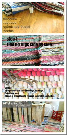 A tutorial on how to create a large area rug using rag rugs, upholstery thread, and a needle. Inexpensive, and looks great!