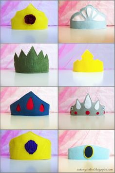 DIY Felt Princess Crowns #DIY #Princesses #Disney #DisneyPrincess #Crown #PrincessCrown #Costumes #Halloween #HalloweenCostume #Ariel #Belle #Cinderella #Tiana #Aurora #SnowWhite #Rapunzel #Jasmine #Felt #Sew #Sewing #Decorations #Decorate #Decor