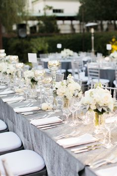 Long tables/grey linen/white crockery/gold and silver. Classic Wedding Flowers, Elegant Wedding, Classic Weddings, Long Table Centerpieces, Wedding Centerpieces, Southern Weddings, Real Weddings, Garden Weddings, Wedding Book