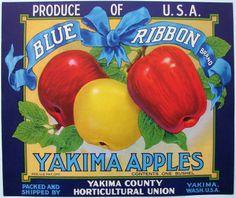 BLUE RIBBON Vintage Yakima Apple Crate Label, apples