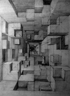 21 Ideas Beautiful Art Drawings Sketches Perspective For 2019 Realistic Pencil Drawings, Art Drawings Sketches, Perspective Sketch, 3 Point Perspective, Illusion Drawings, Art Drawings Beautiful, Wow Art, Architecture Drawings, Geometric Art