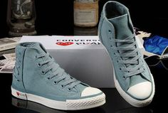 Ultimate Edition Light Blue Converse Comme des Garcons Play Chuck Tayloar All Star High Tops Canvas Sneakers