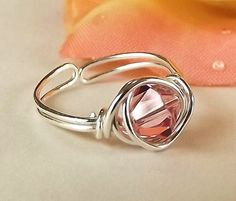 Toe Ring, Crystal, Rose, Sterling Silver, Wire Wrapped, Piggy Bling. $15.00, via Etsy.