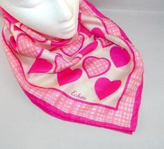Vintage Echo 100% silk scarf with hot pink ~ cotton candy pink hearts. Perfect for Valentine's Day. Vintage Adventure eBay listing ends Feb. 18, 2016.