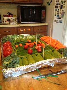 Pin by kelly p on food and drink pinterest veggie tray snacks super bowl party tray ideas football veggie tray a simple way to add some forumfinder Gallery