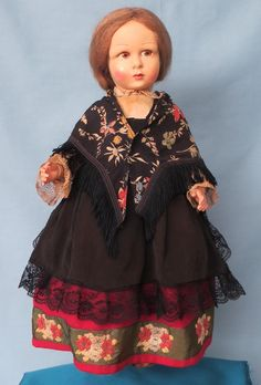 French Made by Raynal Felt Doll in Original Costume