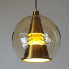Space Age inspired Globe Ceiling Lamp by T. Røste & Co. Copper Ceiling, Ceiling Lamp, Ceiling Lights, Hide Wires, Space Age, Glass Globe, Amber Glass, Black Fabric, Norway