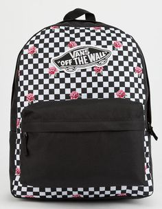 d479f4d4bc VANS Realm Rose Checkerboard Backpack - BLKWH - VN0A3UI6YFK
