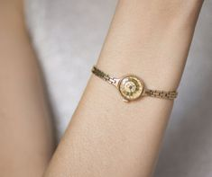 Very small women's watch bracelet  gold plated women by 4Rooms
