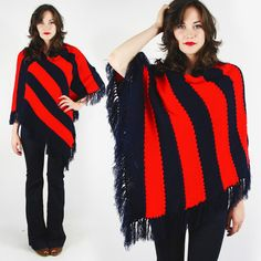 vtg 60s 70s mod hippie RED STRIPE HAND KNIT CROCHET FRINGE sweater poncho top OS $28.00