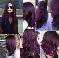 I wanna dye my hair this kind of purple / eggplant colour, which punky color violet vs plum - Violet Things Purple Brown Hair, Dark Purple Hair Color, Violet Hair Colors, Hair Dye Colors, Hair Color For Black Hair, Cool Hair Color, Deep Violet Hair, Dark Plum Hair, Plum Colour