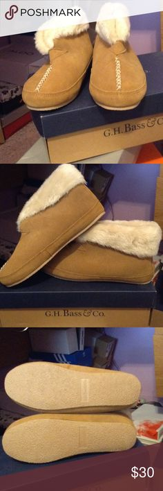 Brand new slipper bootie Super warm I found them in my closet haven't even worn them yet!! Not too crazy on the tan color I say these are good to wear outside they have a hard bass have fur on inside too Bass Shoes Slippers