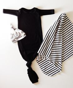 cotton knotted baby gown in solid black
