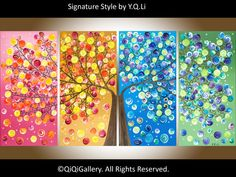 Large Abstract Painting acrylic Impasto landscape Painting four seasons Canvas Tree Painting by qiqigallery