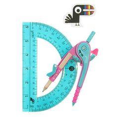 Compass and Flexible Protractor Set - Pink / Aqua