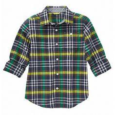 Camisa Gymboree Pine Green a cuadros manga larga