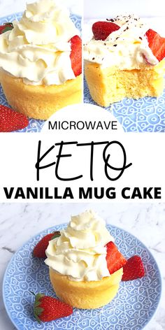 This Keto Vanilla Mug Cake saves the day. It's soft, sweet, and can be made in under 5 minutes! You will feel like you are in food heaven. Turn this into a shortcake by adding some whipped cream, strawberries, blueberries, raspberries, and blackberries. Or make up a little chocolate frosting, raspberry icing, or peanut butter frosting to spread on top. The best part is that its keto, low carb, sugar-free, grain-free, gluten-free Keto Desserts To Buy, Cool Whip Desserts, Keto Dessert Easy, Dessert Recipes, Whipped Cream Desserts, Cream Cheese Desserts, Cream Cheese Recipes, Best Mug Cake Recipes, Mug Recipes