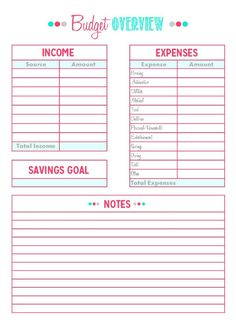 Budget sheets for high school students
