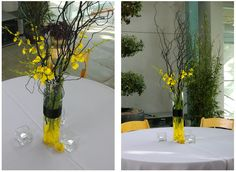 Yellow And Gray Wedding Bouquets | ... they recycled the 8? pretty n pink blumebox bridesmaids bouquets