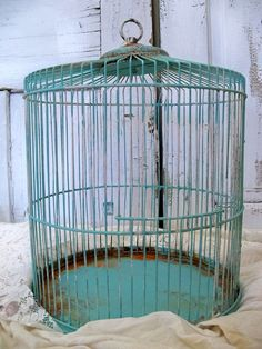 French style birdcage aqua blue rusty beachy shabby cottage decor Anita Spero. $140.00, via Etsy.