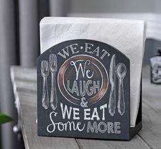 Country Black Novelty Chalkboard Style We Eat Napkin Holder Kitchen Table Decor