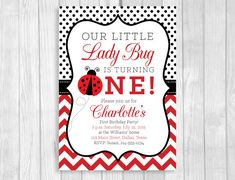 Custom Printable 5x7 Our Little Ladybug is Turning One, Two or Four Girl's Lady Bug Birthday Party Invitation - Polka Dots and Chevron