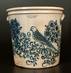 """Sold $21,000 Important and Possibly Unique Stoneware Flowerpot with Profuse Decoration of a Mourning Dove Perched on a Flowering Vine, Stamped """"S D KELLO..."""