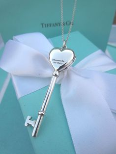 "AUTHENTIC Tiffany & Co. RARE Locket Heart Key Necklace 16"" (#162A) #Pendant"