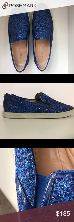 the best attitude a9dba ee5db Jimmy Choo Blue Glitter-Finished Leather Sneakers